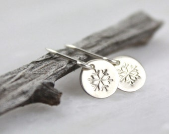 Tiny Snowflake Stamped Silver Disc Earrings