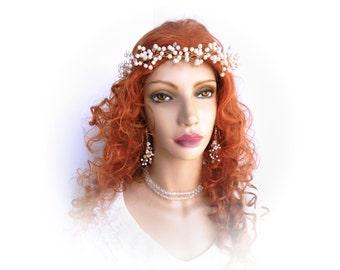 Bridal Head Piece, Bridal Head Wreath, Pearl Crown, Bohemian Wedding, Baby's Breath Headpiece, Bridal Headband, Judith by Durango Rose