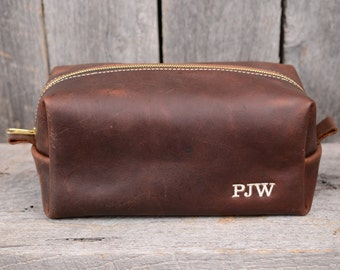 Large Arizona Leather Dopp Kit with Free Monogram and Optional Interior Message