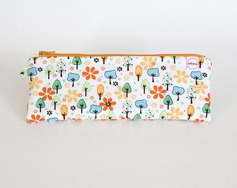 Pencil case, Modern trees, Zipper pouch. Art supply bag, Pencil pouch, School supply bag, Travel toy bag, girl wallet, pencil holder