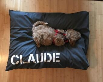 Dog Bed Cover, Designer Linen-Look Dog Bed Duvet Cover, Pet Bed Cover, Dog Bed Replacement Cover