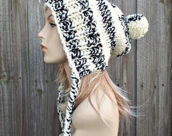 Cream and Black Slouchy Pom Pom Hat - Cream Hat Cream Beanie Slouchy Hat Slouchy Beanie  Winter Hat Womens Hat - Charlotte