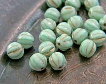 Mint Rococo (25) -Czech Glass Melon Rounds 6mm