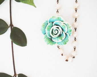 Statement Necklace Flower Necklace Mothers Day Gift Valentines Gift Women Gift Women Necklace Green Necklace Ivory Necklace  Spring Jewelry