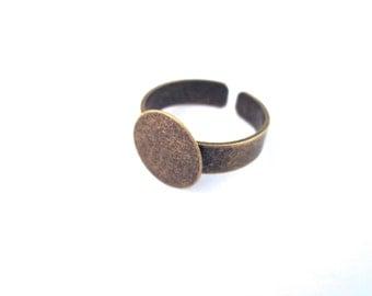 12mm brass ring blank with an open back adjustable cuff ring band, A368