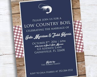 Wedding Shower Invitation - Low Country Boil - BBQ - Blue Red Gingham Invite - Couples Shower Invitation - Old Fashioned Picnic Invite