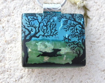 Petite Dog Necklace, Dichroic Glass Jewelry, Dichroic Glass Jewelry, Necklace Included, Dichroic Pendant, Dog Park Necklace, 110616p101