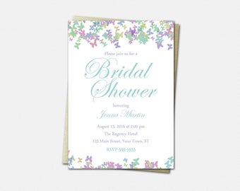 Butterfly Bridal Shower Invitations - Butterfly Shower Invitations - Printable or Printed - Butterfly Wedding Shower Invitations