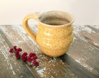 Wavy Mug - Yellow Speckled Mug - 14 oz  Coffee Cup - Ready to Ship Ceramic Cup