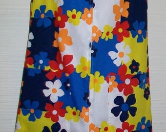 """NOS Mod Flower Power 1960s Shift Dress sz 10 36"""" Bust Bright Cotton Daisy Yellow Blue Red White w store tags"""