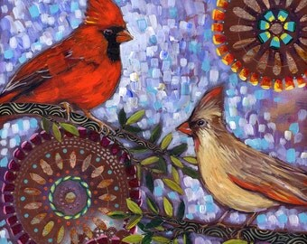 """Archival 6x6 inch Print on Wood """"Pair of Cardinals"""""""
