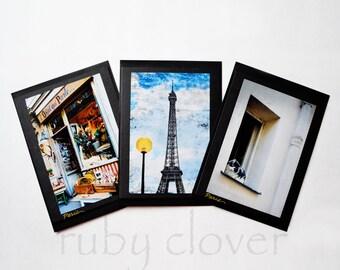 PARIS CARD SET, Eiffel Tower Card, Paris Photo Card, Montmartre, French Kitty, 60's Paris, Paris Antique Shop,French Cards,L'Objet Qui Parle