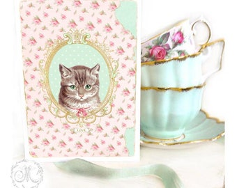 Cat card, with love, vintage style, Tabby cat, birthday card, all occasion card