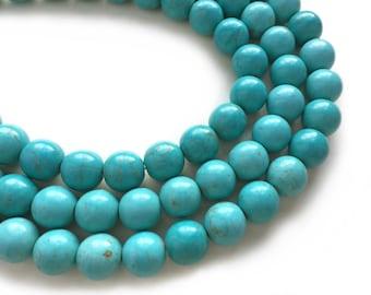 Blue Turquoise Howlite 14mm Big Round Semi Precious Stone Beads - 16 in. strand - 30 Beads