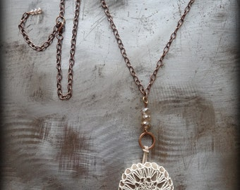 Crocheted Lace, Smooth Stone Necklace, Handmade, Ecru Thread, Smooth Stone, Nature, Original, Bohemian, Sparkle, Monicaj