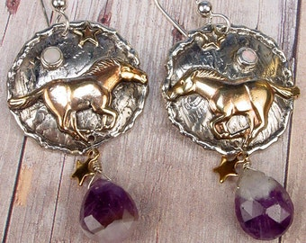 HORSE - Totem Animal Sterling Silver Earrings With Purple Amethyst Briolettes, Opal Cabochon