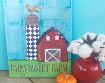 Farm sweet Farm Barn art. rooster art. Farmhouse decor. Landscape art. original mixed media canvas painting wall decor. Americana. Folk art.