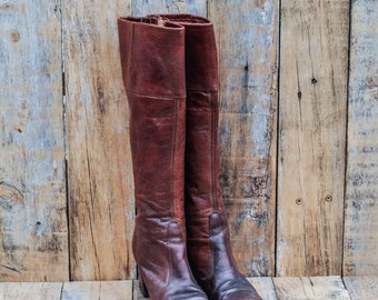 1960s Leather Boots, US 5 1/2, Uk 3.5, Eu 36, Brown Knee high Boots, womens Leather Boots, USA MADE, Tall Leather Boots, Retro Boots,