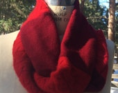 Red Infinity Scarf Up Cycled Cashmere Sweater Scarf