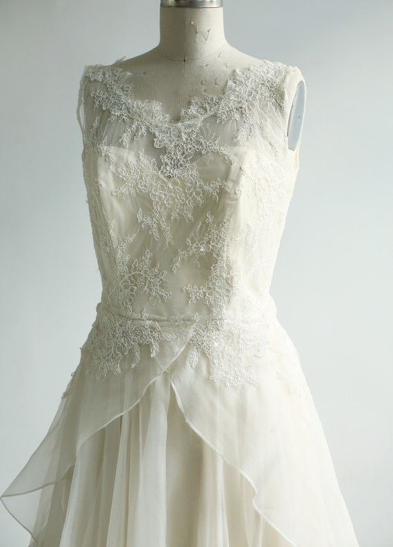 Sample Sale- Silk organza and French lace wedding gown