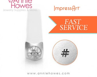 Hashtag # Design Stamp for Jewelry Stamping. Instagram Hashtag Facebook Hashtag Marking Stamp. Impressart Hashtag Stamp.