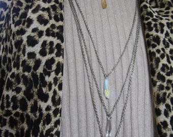 Long Adjustable Necklace with a Swarovski Crystal Grand Crystalactite Pendant on a sparkling 35 inch cable chain