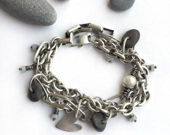 Sterling Silver Multiple Chain Multichain Beach Stone Freshwater Pearl Heart Bracelet Amazonite Heishi Beads Adjustable