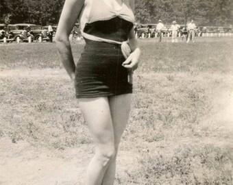 Vintage photo 1935 Bathing Beauty Young Woman Anklet Socks Cute Figure Detroit MI