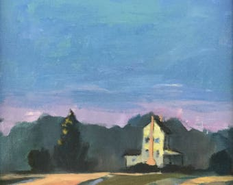 Before the Birds - 8x8 inches original acrylic plein air painting of a farmhouse at daybreak by Maryland landscape artist Barb Mowery