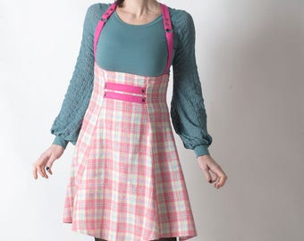 Pink and white suspender Skirt, Pink plaid skirt, High waisted jumper skirt, Womens checkered skirt, Womens clothing, Womens skirts, MALAM