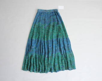 silk chiffon skirt | water lilies print | long silk skirt