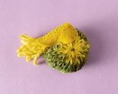 Nautilus Brooch #29 (mustard) - plush pin creature toy nuigurumi nature amigurumi ocean sea creature knitted yarn wool yellow green