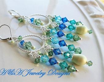 Silver Chandelier Earrings, Blue Green Long Earrings, Blue Crystal Earrings, Silver Hoop Earrings, Blue Chandelier Earrings, Pearl Earrings