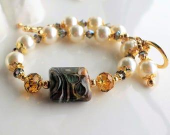 Lampwork Bracelet, Green Brown Lampwork Bead Bracelet, Cream Pearl Bracelet, Swarovski Crystal Bracelet, Lampwork Pearl Statement Bracelet