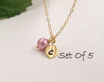 Bridesmaid Gift, Bridesmaid Necklace, Gold or Silver Necklace, Choose Your Pearl Color, Initial Leaf, Birthday Gift, Flower Girl Gift