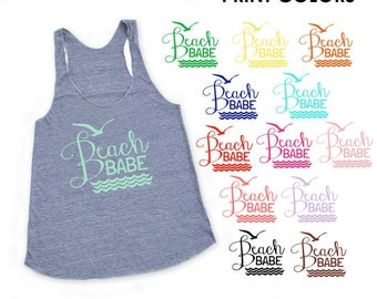 Beach Babe Heather Grey TriBlend Racerback Tank Top - Family Photos, Vacation, Beach Day, Waves, Ocean, Surf, Summer