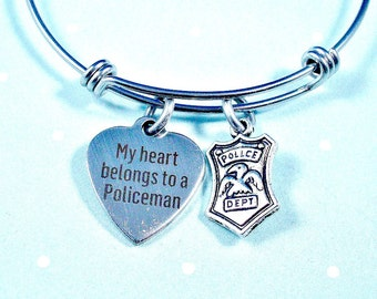 My Heart Belongs To A Policeman, Police Badge, Stainless Steel Bangle Bracelet, Sturdy, Trend Inspired Bangle, Trendy Style, Gift For Her