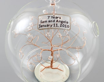 50th Anniversary Gift Personalized Ornament Gold with Clear