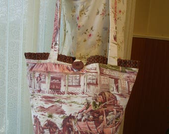Old West Barkcloth Tote Horses Stagecoach Vintage Barkcloth