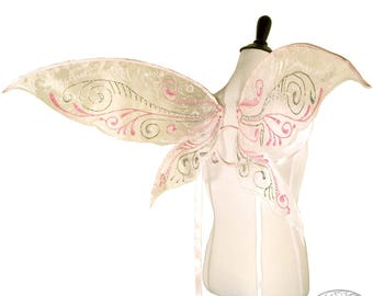 Isabelle No. 2 - Medium Glitter Fairy Wings in Pink and Silver Glitter - Convertible Strapless