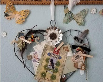Bulletin Board, Wire Heart Wreath, Rustic Wedding Decor, Photo Display, Ring Pillow Alternative, Jewelry Holder, Farmhouse, Vintage Decor