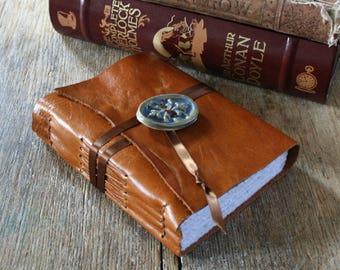 """Leather Journal . """"The Road Not Taken"""" - Robert Frost . handmade handbound . rich golden tan . ceramic button (320 pgs)"""