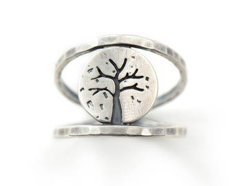 Mini Four Seasons Series - Winter Tree Sterling Silver Double Band Handmade Ring