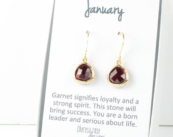 Tiny January Birthstone Gold Earrings, Garnet Gold Earrings, January Garnet Earrings, January Birthstone Jewelry, Dainty Gold Earrings