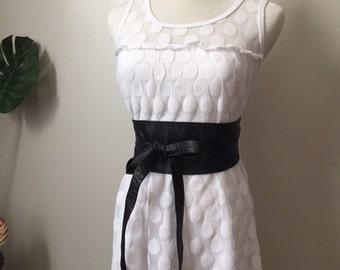 Super Soft Leather Obi Style Wrap Belt. Made In U.S.A.