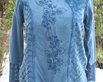 SALE was 24.00 Beaded India rayon blouse pullover Medium hippie shirt top festival