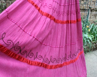 Ragged dark pink flare hippie skirt twirling well loved embellished free size AS IS!