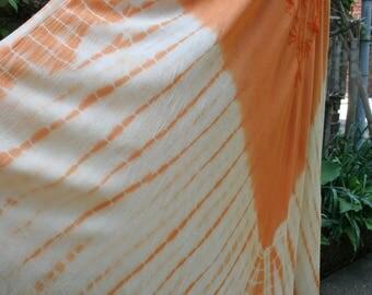Orange tie dye swing dress free size twirling flare hippie dress Deadstock