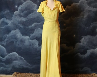 Vintage 1930s Old Hollywood Sunny Yellow Cotton T-strap Back Dress - Size Small