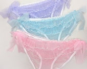 Sheer ruffled panties in nylon - frills ruffle knickers, see-through bloomers frilly knicker panty pink purple lilac blue
